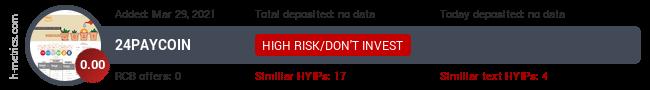 HYIPLogs.com widget for 24paycoin.biz