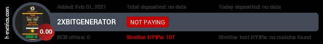 HYIPLogs.com widget for 2xbitgenerator.uno