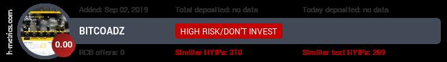 HYIPLogs.com widget for bitcoadz.icu