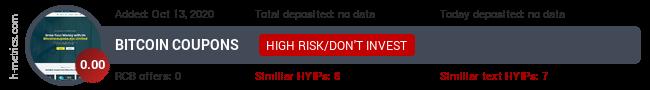 HYIPLogs.com widget for bitcoincoupons.xyz