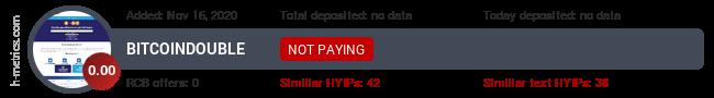 HYIPLogs.com widget for bitcoindouble.icu