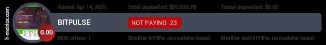 HYIPLogs.com widget for bitpulse.cc
