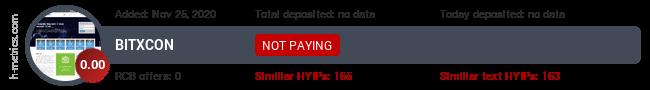 HYIPLogs.com widget for bitxcon.biz