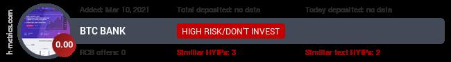 HYIPLogs.com widget for btc-bank.fun