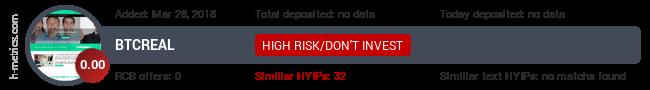 HYIPLogs.com widget for btcreal.biz