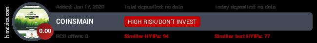 HYIPLogs.com widget for coinsmain.tech