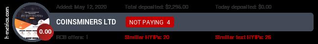 HYIPLogs.com widget for coinsminers.biz