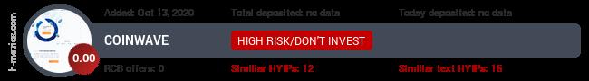 HYIPLogs.com widget for coinwave.biz