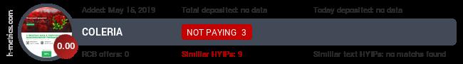 HYIPLogs.com widget for coleria.online
