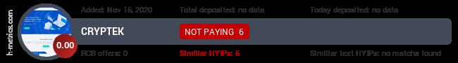 HYIPLogs.com widget for cryptek.biz