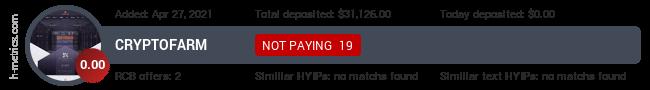 HYIPLogs.com widget for cryptofarm.vip