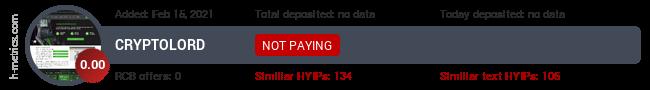HYIPLogs.com widget for cryptolord.pw
