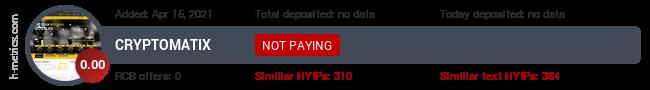 HYIPLogs.com widget for cryptomatix.pw