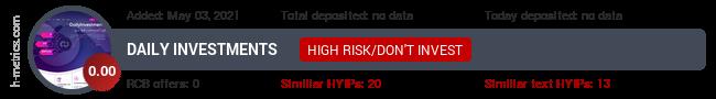 HYIPLogs.com widget for dailyinvestments.biz
