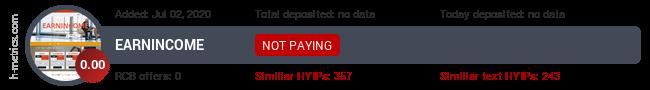 HYIPLogs.com widget for earnincome.fun