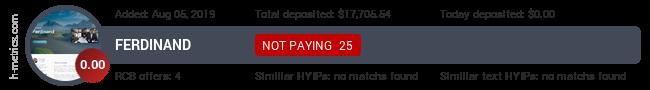 HYIPLogs.com widget for ferdinand.capital