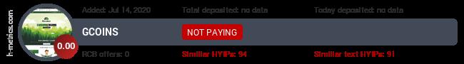 HYIPLogs.com widget for gcoins.pw