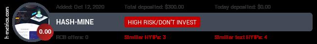HYIPLogs.com widget for hash-mine.net