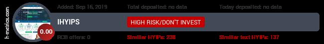 HYIPLogs.com widget for ihyips.club