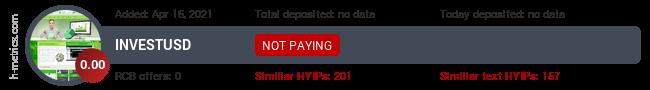 HYIPLogs.com widget for investusd.pw