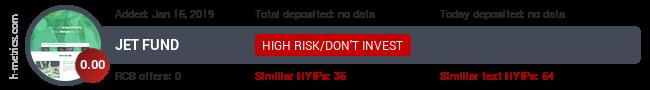 HYIPLogs.com widget for jetfund.icu