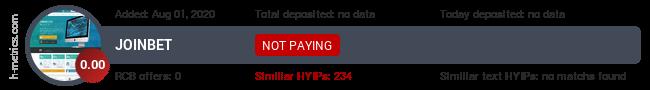 HYIPLogs.com widget for joinbet.co
