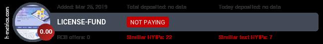 HYIPLogs.com widget for license-fund.co