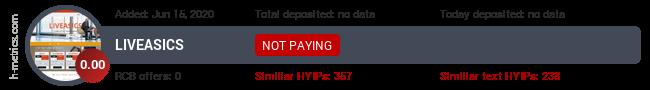 HYIPLogs.com widget for liveasics.space