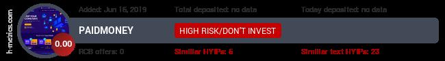 HYIPLogs.com widget for paidmoney.info
