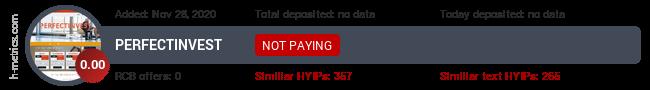 HYIPLogs.com widget for perfectinvest.biz