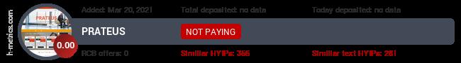 HYIPLogs.com widget for prateus.pw