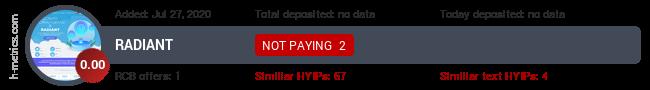 HYIPLogs.com widget for radiant.finance