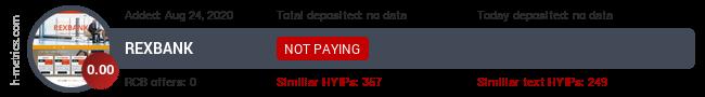 HYIPLogs.com widget for rexbank.uno