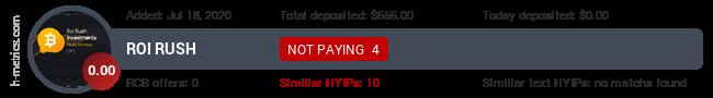 HYIPLogs.com widget for roirush.biz