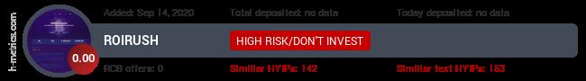 HYIPLogs.com widget for roirush.pw