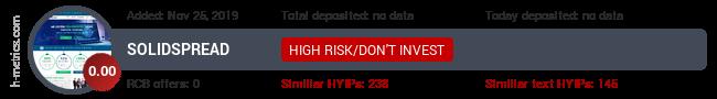 HYIPLogs.com widget for solidspread.pw