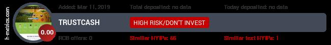 HYIPLogs.com widget for trustcash.biz