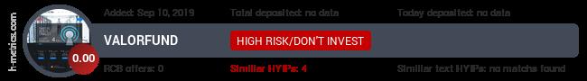 HYIPLogs.com widget for valorfund.club