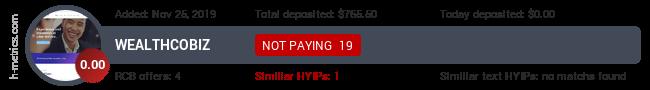 HYIPLogs.com widget for wealthco.biz