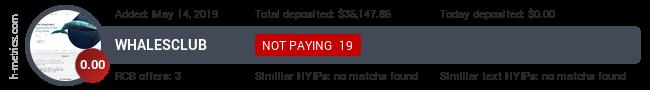 HYIPLogs.com widget for whalesclub.io