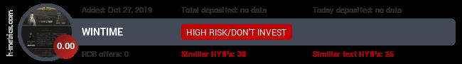 HYIPLogs.com widget for wintime.icu