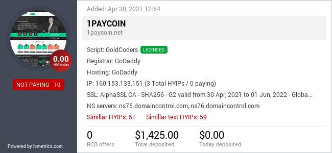 HYIPLogs.com widget for 1paycoin.net