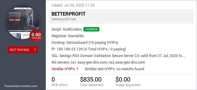HYIPLogs.com widget for betterprofit.net