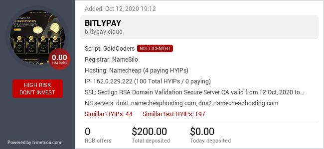 HYIPLogs.com widget for bitlypay.cloud