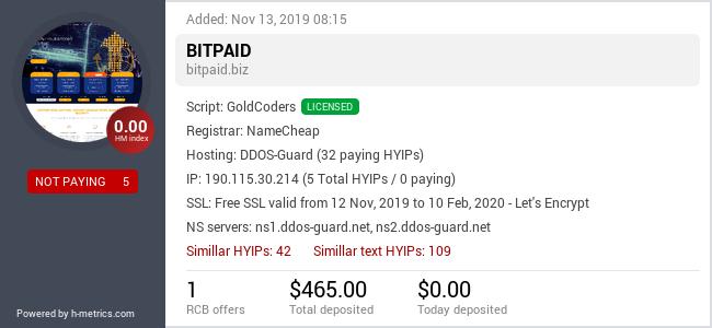 HYIPLogs.com widget for bitpaid.biz