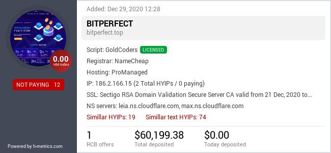 HYIPLogs.com widget for bitperfect.top
