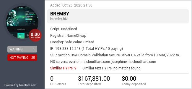 HYIPLogs.com widget for bremby.biz