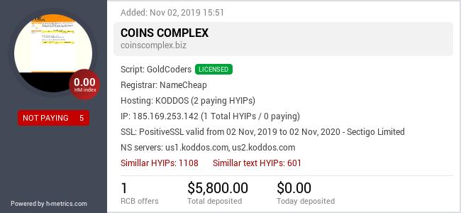 HYIPLogs.com widget for coinscomplex.biz