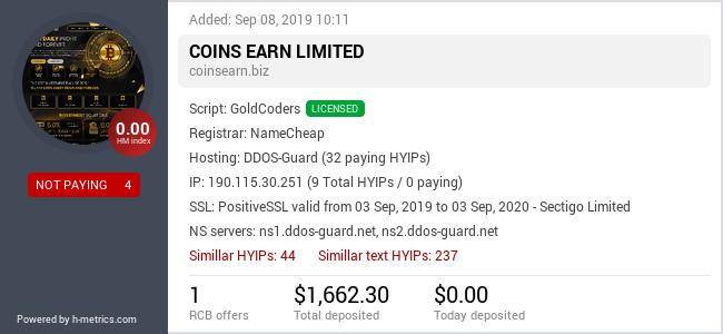 HYIPLogs.com widget for coinsearn.biz