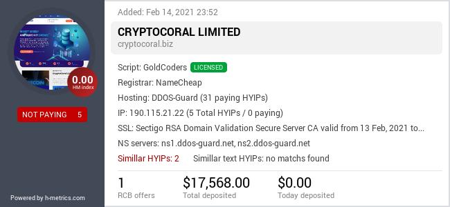 HYIPLogs.com widget for cryptocoral.biz